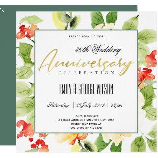 RED ORANGE WATERCOLOR FLORAL ANY YEAR ANNIVERSARY INVITATION