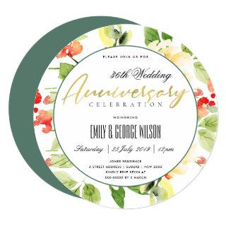 RED ORANGE WATERCOLOR FLORAL ANY YEAR ANNIVERSARY Invitations