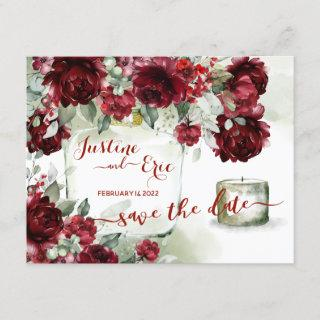 Red Peony Epiphany Save The Date Postcard