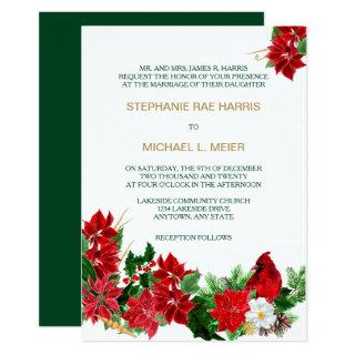 Red Poinsettia Cardinal Christmas Wedding Invite