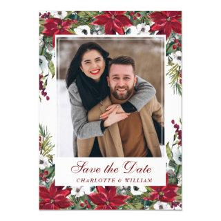 Red Poinsettia Christmas Wedding Save the Date Invitations