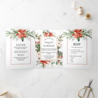 Red Poinsettia Evergreens Red Berries Wedding Tri-Fold