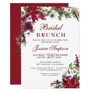 Red Poinsettia Floral Christmas Bridal Brunch Invitations