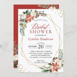 Red Poinsettia Floral Christmas Bridal Shower Invitation