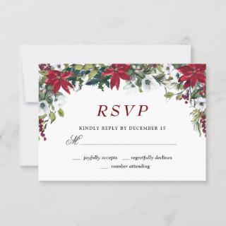 Red Poinsettia Floral Christmas RSVP Card