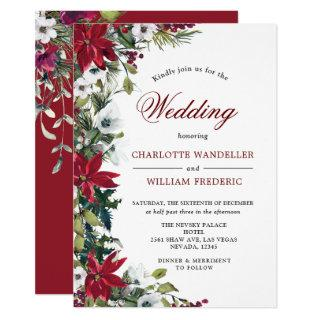 Red Poinsettia Floral Christmas Watercolor Wedding Invitations