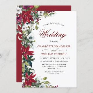 Red Poinsettia Floral Christmas Watercolor Wedding