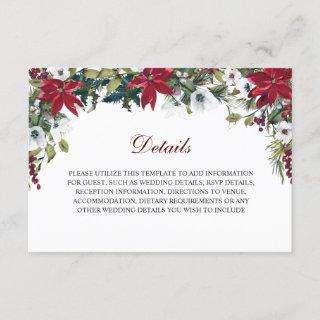 Red Poinsettia Floral  Wedding Reception Details Enclosure Card