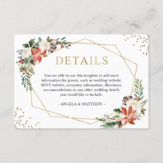 Red Poinsettia Floral Winter Wedding Details Enclosure Card