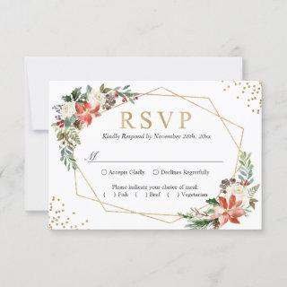Red Poinsettia Ivory Floral Geometric Gold Wedding RSVP Card