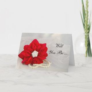 Red Poinsettia Pearls Will You Be My Bridesmaid Invitations