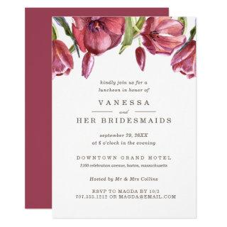 Red Poppies Elegant Wedding BRIDESMAIDS Luncheon Invitation
