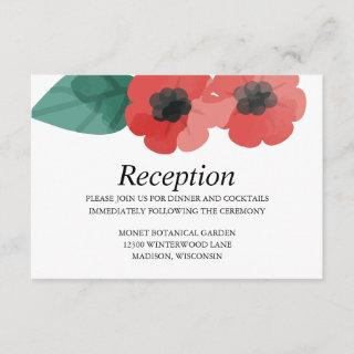 Red Poppies Viridian Floral Wedding Reception Enclosure Card