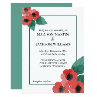 Red Poppies Viridian Green Floral Winter Wedding Invitation