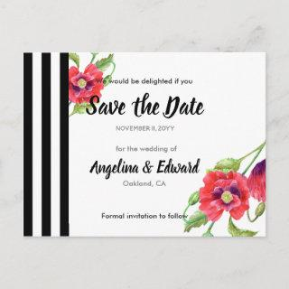 Red Poppies Wild Floral Wedding Save The Date Announcement Postcard