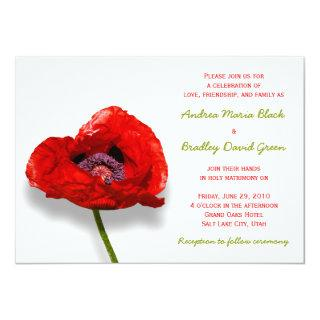 Red Poppy on White Wedding Invitation