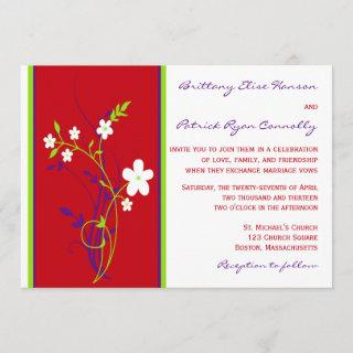 Red, Purple, Lime, White Floral Wedding Invitations