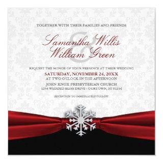 Red Ribbon Winter Wedding Invitations