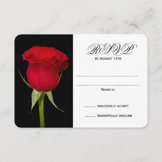 Red Rose Black and White Wedding RSVP Cards