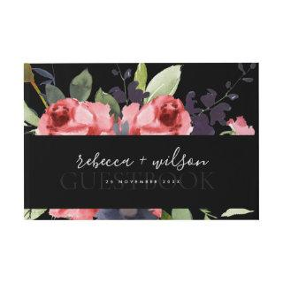 RED ROSE BLACK EUCALYPTUS FLORA WATERCOLOR WEDDING GUEST BOOK