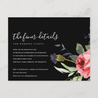 RED ROSE BLACK EUCALYPTUS FLORAL WEDDING DETAILS ENCLOSURE CARD