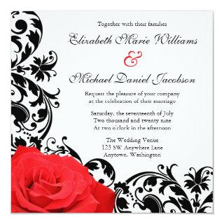 Red Rose Black Flourish Wedding Invitations
