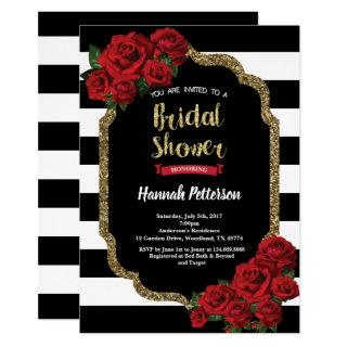 Red rose bridal shower invitation black and gold