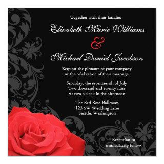 Red Rose Flourish Wedding Invitations