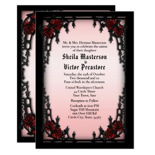 Red Rose Gothic Wedding Invitations