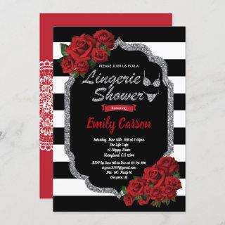 Red rose lingerie shower black and silver Invitations