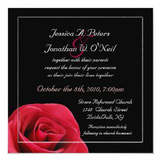 Red Rose on black wedding Invitations