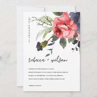 RED ROSE PEONY EUCALYPTUS FLORA WATERCOLOR WEDDING