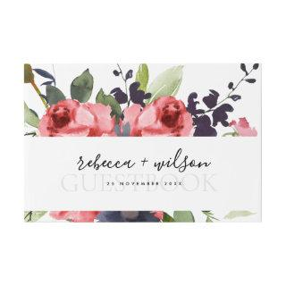 RED ROSE PEONY EUCALYPTUS FLORA WATERCOLOR WEDDING GUEST BOOK