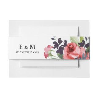 RED ROSE PEONY EUCALYPTUS FLORA WATERCOLOR WEDDING Invitations BELLY BAND