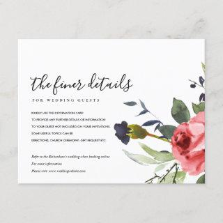 RED ROSE PEONY EUCALYPTUS FLORAL WEDDING DETAILS ENCLOSURE CARD