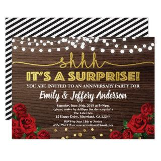 Red rose surprise anniversary party Invitations