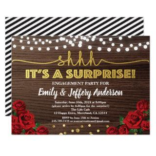 Red rose surprise engagement party Invitations