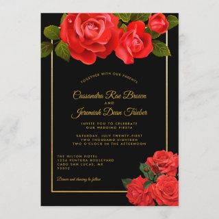 Red Roses and Black Formal Wedding Invitation