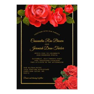 Red Roses and Black Formal Wedding Invitations