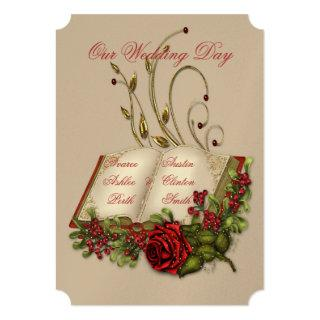 Red Roses and Gold Open Bible Wedding Invitation