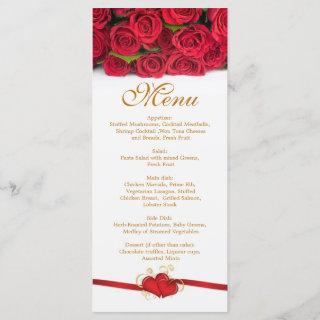Red roses and hearts Menu  Rack Card
