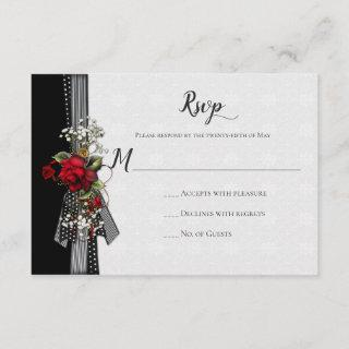 Red Roses Baby's Breath Ribbons Calligraphy RSVP