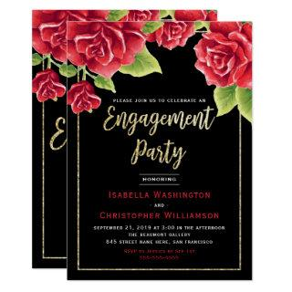 Red Roses Black & Gold Glitter Engagement Party Invitations