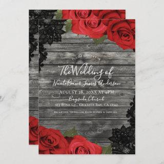 Red Roses Rustic Wood Black Lace Wedding