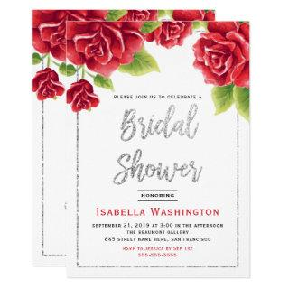 Red Roses & Silver Glitter Bridal Shower Invitations