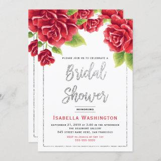 Red Roses & Silver Glitter Bridal Shower Invitation
