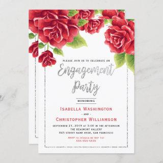 Red Roses & Silver Glitter Engagement Party Invitation