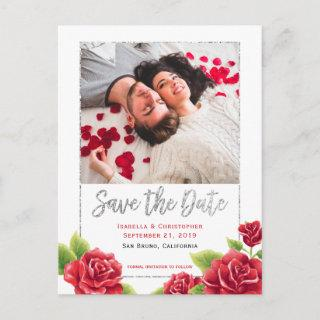 Red Roses & Silver Glitter Save the Date Photo Announcement Postcard