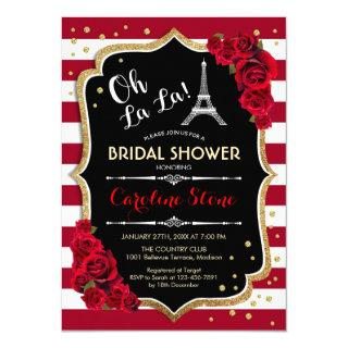 Red Roses Stripes French Style Bridal Shower Invitations