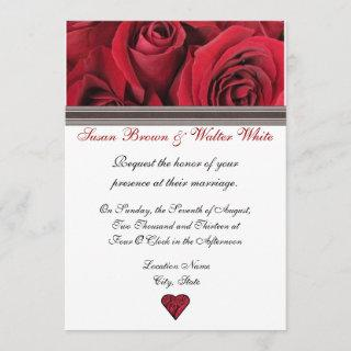 Red Roses Wedding Invitations With Black Ribbon